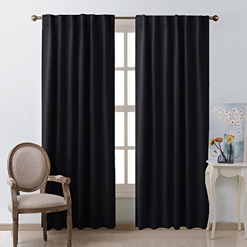 NICETOWN Black Blackout Curtains 84 inches Long, Black Out Curtain Panels for Bedroom - (Black Color) W52 x L84, 1 Pair, Thermal Insulated Blackout Draperies Window Treatment