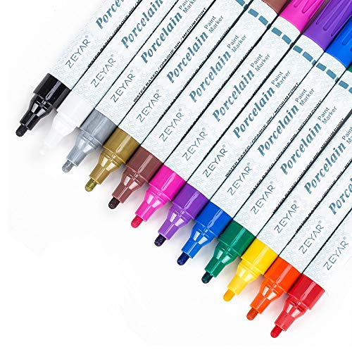 ZEYAR Acrylic Paint Pens for Porcelain use, Professional Ceramic painting, 12...