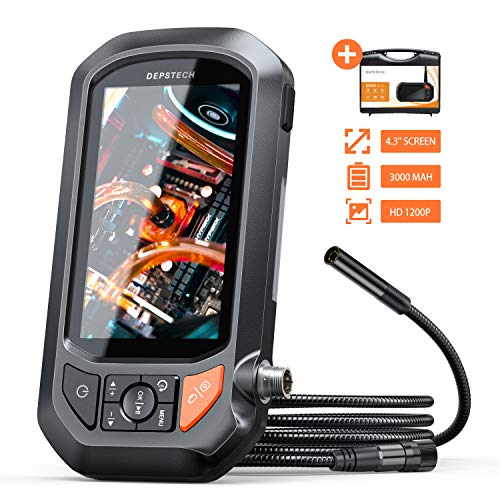 Industrial Borescope, DEPSTECH 2.0 MP 1200P HD Endoscope, 4.3in IPS Screen Waterproof Inspection Camera, 2.75-15.7in Focal Range Snake Camera,3000mAh Battery, Support TF Card-3.3ft