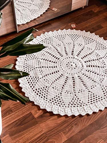 Maison Zoe Tapis au Crochet Rond Lourd - Chic et écologique - Diamètre de 100 à 110 cm - 100 % tressé à la Main - Tapis tissé (Blanc, Single)