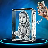 ArtPix 3D Crystal Photo, Personalized Gift With Your Own Photo, 3D Laser Etched Picture, Engraved Rectangle Crystal, Memorial Birthday Gifts for Mom Dad Men Women, Customized Anniversary Couples Gifts