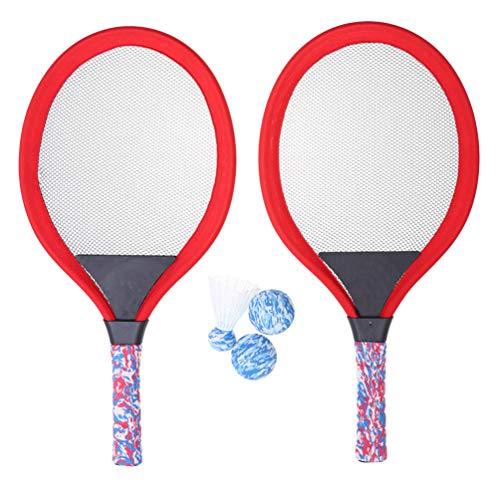BESPORTBLE Tennisschläger Ball Set Badmintonball für Kinder Outdoor-Sport Tennisschlägersets Strandspiel Spielzeug für Kinder 2 Sets Rot