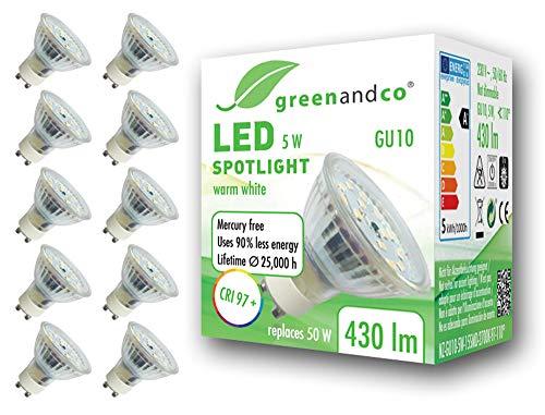 10x greenandco® CRI97+ 2700K 110° LED Spot ersetzt 50 Watt GU10 Halogenstrahler, 5W 430 Lumen warmweiß SMD LED Strahler 230V AC, flimmerfrei, nicht dimmbar, 2 Jahre Garantie