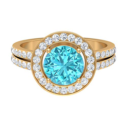 Swiss Blue Topaz Ring, D-VSSI Moissanite Halo Ring, Solitaire Ring with Side Stone (8 MM Swiss Blue Topaz), 14K Yellow Gold, Size:UK I