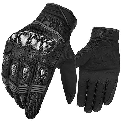 INBIKE Motorrad handschuhe Herren Damen Motorradhandschuhe Atmungsaktivität Strapazierfähig Hartschalen-Schutz für Motorrad Radfahren Camping Outdoor(Schwarz&Grau,XL) IM803