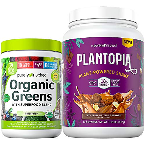 Organic Greens Powder + Vegan Protein Powder Bundle | Purely Inspired Organic Greens Superfoods Powder (24 Servings) + Plantopia Vegan Protein Powder, Chocolate Hazelnut Brownie (13 Servings)