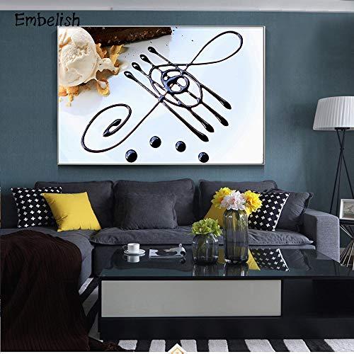 Geen frame Koffie en brood met muziek notities keuken huis woonkamer HD muurschildering HD canvas