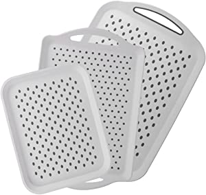 Yummy Sam Food Serving Tray Anti-Slip Food Serving Tray with Handles Rectangle Non Skid Rubber Grip Serving Tray Multipurpose Tray (3PCS)
