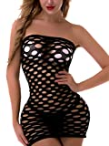 FasiCat Women's Mesh Lingerie Fishnet Babydoll Mini Dress Free Size Bodysuit Black