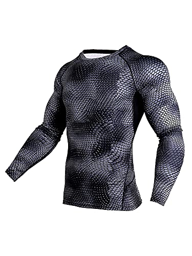 Mens Fitness Slimming Tops Sports Pullover Compression Long Sleeve T-Shirt Bodybuilding Crew Neck Shapewear Undershirts Muscle Tee Shirt (Snakeskin,XXL)