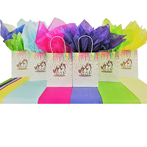 Price comparison product image Unicorn Party Gift Bags for Favors Birthday Treat Goodie Candy Party Supplies (Set of 12 Bags / 25 Pieces Rainbow Tissue Paper)