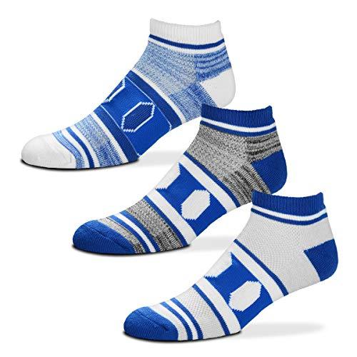 For Bare Feet NCAA Triplex Heathered No-Show Ankle Socks - 3 Pack (Duke Blue Devils, Large (10-13))