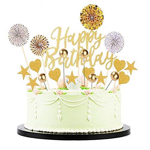 TOPHOPE 20 Stück Gold Happy Birthday Tortendeko Geburtstag Set, Cake Topper Geburtstagstorte, kuchendeko Geburtstag mädchen, deko Torte für Geburtstagsfeier Dekoration