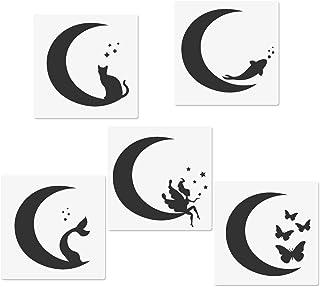 "Crescents Moon Stencils, Moon Cat Moon Fairy Moon Fishtail Moon Butterfly Moon Fish Templates, 5.9x5.9"" Reusable Templates..."