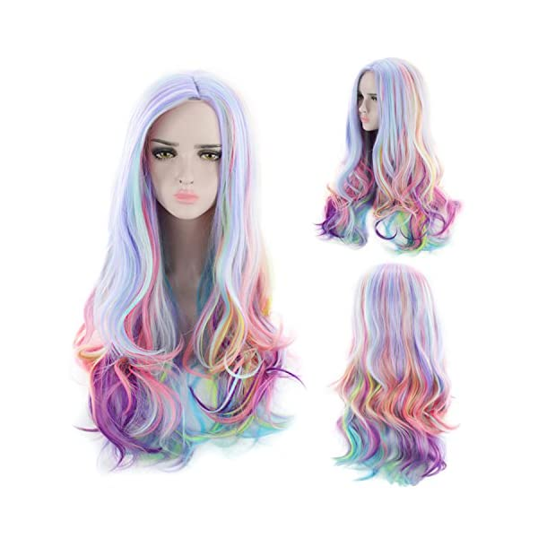 AGPtEK Full Long Curly Wavy Rainbow Hair Wig, Heat Resistant Wig for Music Festival, Theme Parties, Wedding, Concerts… 7