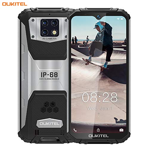 OUKITEL WP6 (2020) Outdoor Handy, 4G IP68 wasserdichter Smartphone Ohne Vertrag,10000mAh Robustes Handy, 48MP Android 9.0 Global Version 6,3 Zoll 6GB 128GB Triple Kamera Face/Fingerprint ID (Schwarz)