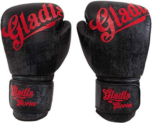 Gladts Premium Boxhandschuhe aus Leder in Schwarz - Größe 18 oz - Für Erwachsene