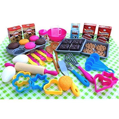 TikTakToo 50 TLG riesiges Backset Kuchen Küchenhelfer für Spielküche Lebensmittel UVM