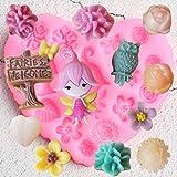 QMGLBG Moldes de Silicona para decoración de jardín de Flores DIY Fairy Birds Cupcake Topper Fondant Herramientas de decoración de Pasteles Candy Clay Moldes de Chocolate
