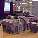 AMY Massage Table Sheet Sets Spa Beauty Bed Cover, Beauty Bedspreads European Solid Color Salon Spa Massage Bed Cover Black-A 70x190cm(28x75inch)