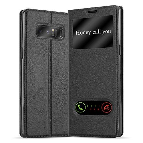 Cadorabo Hülle für Samsung Galaxy Note 8 in KOMETEN SCHWARZ – Handyhülle mit Magnetverschluss, Standfunktion & 2 Sichtfenstern – Hülle Cover Schutzhülle Etui Tasche Book Klapp Style