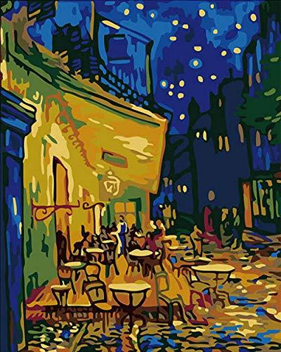 Cyniakiss DIY Malen Nach Zahlen Erwachsene Nachtcafé-Van Gogh DIY Ölgemälde, Paintworks Malen Nach Zahlen Kit Für Erwachsene, Village of Sea Painting Kit Für Home Decor 40 * 50