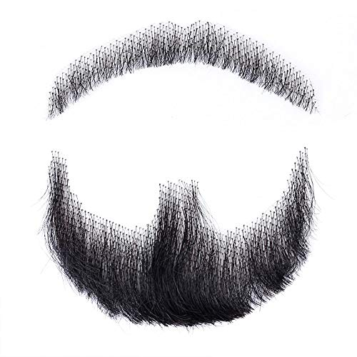 HiDoLa 100 Human Hair Fake Face Beard and Mustache Black Color for Adults Men Realistic Makeup Lace Invisible False Beards HZ03 Black
