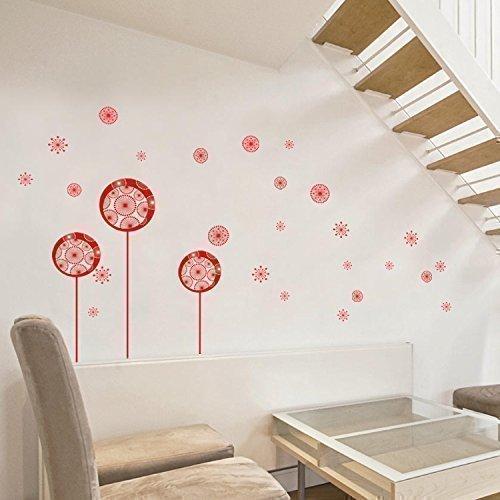 Walplus - rode paardenbloemen vlinders vogel muur sticker huis decoratie