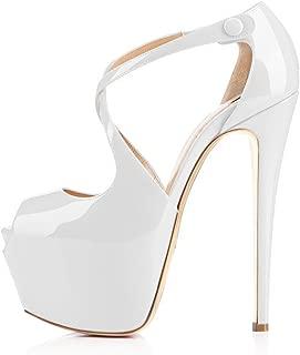 Onlymaker Women's High Heel Peep Toe Platform Stiletto Ankle Crisscross Strap Buckle Snap Dress Party Heeled Sandals