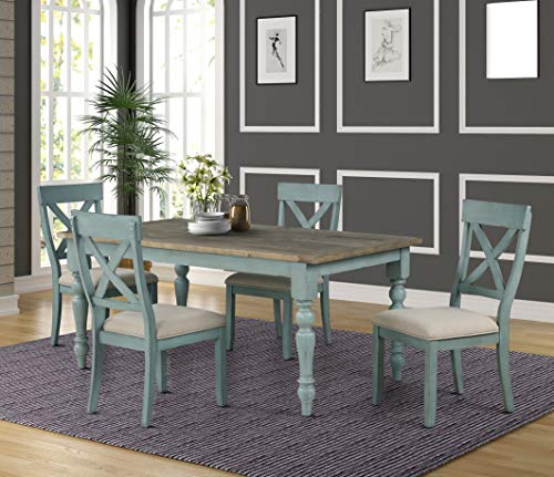 Roundhill Furniture Prato 5-Piece Dining Table Set with Cross Back Chairs, Blue