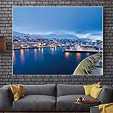 Carteles de arte y murales de paisajes de montañas nevadas y murales de lienzos nocturnos de ciudad A4 40x60cm