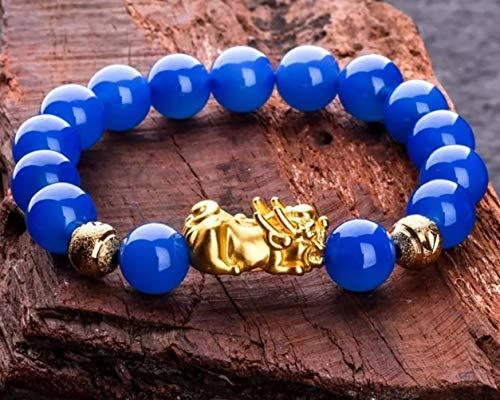 Deykhang Feng Shui Richesse Pixiu Bracelet Rare Pur Bleu Royal Agate Chakra Naturelles Pierres précieuses Quartz Perles Attirer l'argent Créativité Chance Fortune Talisman Paix Prospertity,12mm