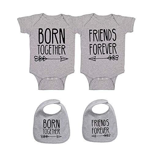 culbutomind Baby Strampler Zwillings Beste Freunde Für Immer Fun Baby Geschenke Geburt Erstausstattung 2 Baby Lätzchen(Grau 3M)