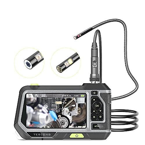 MH-RING Endoscopio Industrial 1080P HD Lente Dual, Boroscopio IP67 Cámara de Serpiente Impermeable Pantalla de 5 Pulgadas Pantalla IPS con 4 Luces LED Ajustables IP67 Boroscopio Impermeable 32 GB