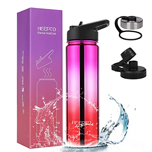 KEEPTO Insulated Water Bottle 3 Lids - 22 oz Vacuum Insulated Stainless Steel Water Mug, Double Walled Thermo Mug, Hydro Metal Canteen, Glossy Rose/Red