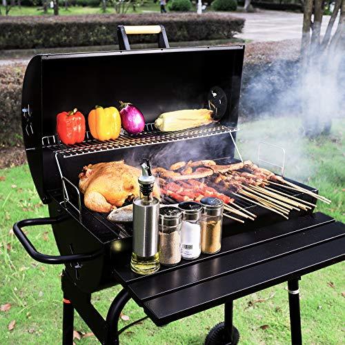 Holzkohlegrill Grillwagen Edelstahl Outdoor Edelstahlgrill mit Deckel Barbecue mit 2 Grillflächen, 2 Räder