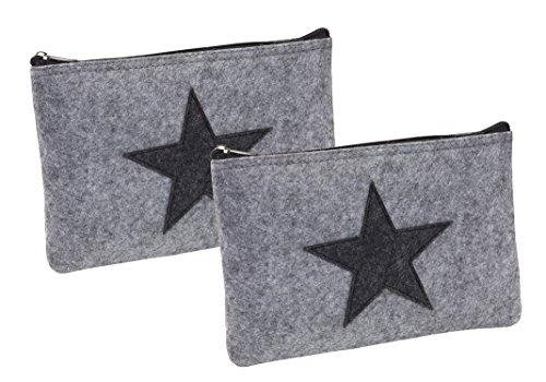 Set 2 Stück Elegante Bankmappe Banktasche A5 Geldtasche Geldbeutel Etui für Geldscheine Filz mit Reißverschluss auch Stifteeui Kosmetiktasche Grau mit Stern