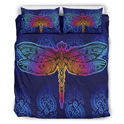 Conjuntos Retro 3 Piezas Almohada Libélula Insecto Confort Coverlets Patrón Europeo Color Negro Decorativo Cama Almohada Conjunto Blanco 264x229cm