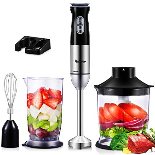 Yabano Hand Blender 800W, 5 in 1 Stick Blender, 12 Speed Immersion Blender Set with Food Chopper, Beaker, Electric Whisk, Stainless Steel Blade, for Smoothies, Soups, Sauces, Baby Food