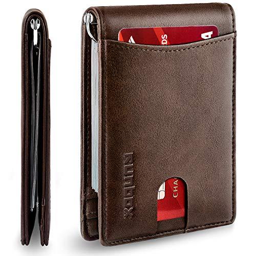 RUNBOX Minimalist Slim Wallet for Men with Money Clip, RFID Blocking