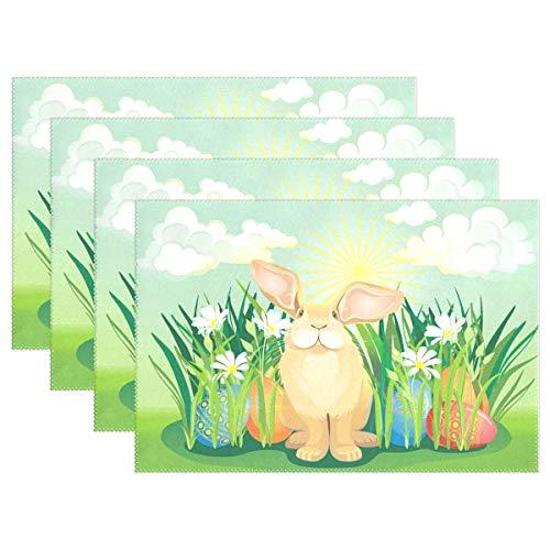 Promini - Juego de 4 manteles Individuales Antideslizantes para el Día de Pascua, diseño de Conejo con Flores