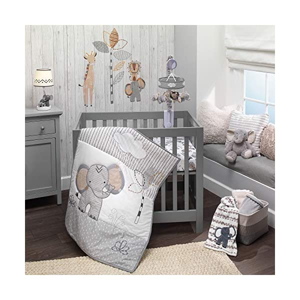 Lambs & Ivy Jungle Safari Elephant 3-Piece Mini Crib Bedding Set – Gray/White