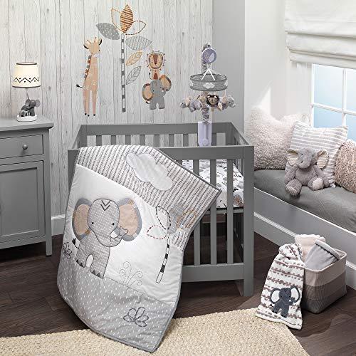Lambs & Ivy Jungle Safari Elephant 3-Piece Mini Crib Bedding Set - Gray/White
