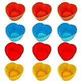 Unique'store 12 pezzi Colorful Muffin Cup A Forma di Cuore Silicone Pirottini da forno Stampi per Cupcake Torta e Muffin,elevata stabilità della forma, riutilizzabile e lavabile in lavastoviglie.