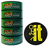 Hooch Herbal Snuff Wintergreen Fine Cut 5 Cans with DC Crafts Nation Skin Can Cover - FIT Black
