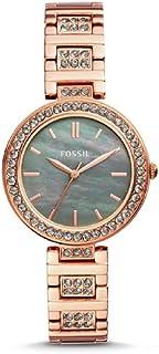 ساعة فوسيل كارلي بثلاث عقارب لون ذهبي وردي ستانلس ستيل BQ3422