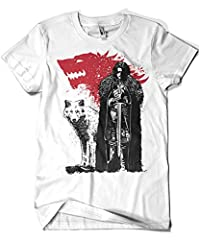 3433-Camiseta Premium, Game of Thrones - The King and The White Wolf