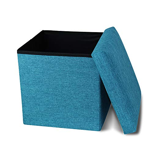 Storage Ottoman Cube Small, Folding Ottoman Cube Seat, Foot Stools and Ottomans with Storage, Ottoman Footstool Toy Chest Memory Foam Padded for Space Saving 11.8x11.8x11.8 inch, Turquoise