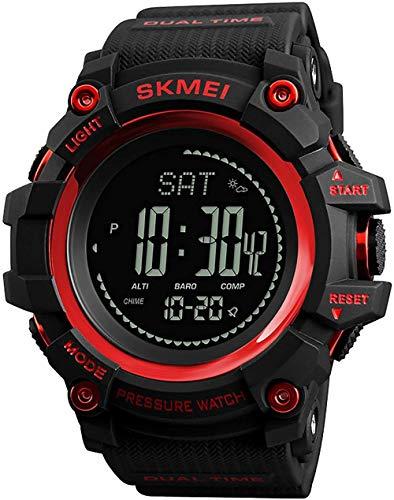 Reloj deportivo para hombre, cuenta atrás, calendario, brújula, presión atmosférica, pronóstico del tiempo, reloj electrónico, carcasa ABS, regalo para los amantes del aire libre, color azul y rojo