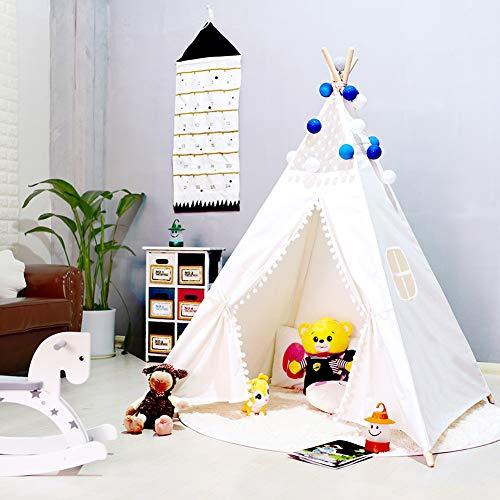 Triclicks Tienda Tipi Tienda India Tienda de Campaña Infantil Tipi Indio Tienda IndiaJuego Algodón Lienzo para Niños Niño y Una Niña(Estilo Blanco B)